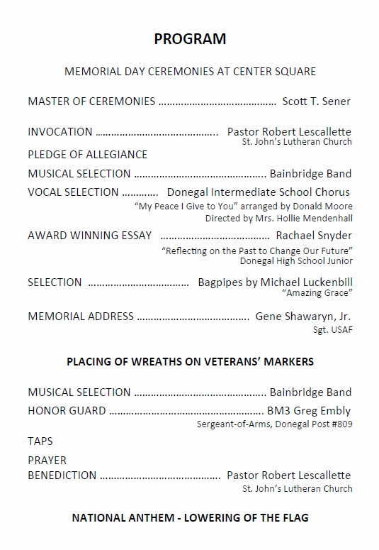 East Donegal Township Program For 2018 Memorial Day Ceremony