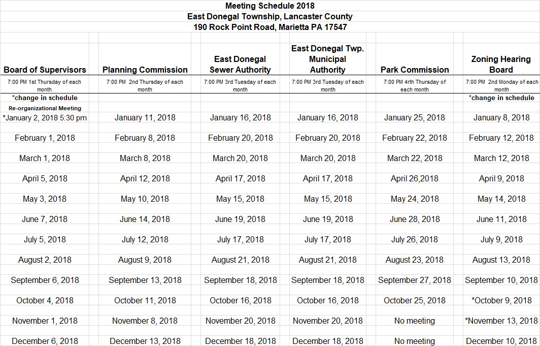 East Donegal Township » 2018 Meeting Schedule